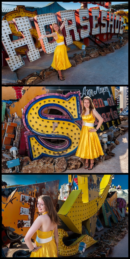 Allyson in a Gold 50s Dress Having Fun at the Neon Sign Museum