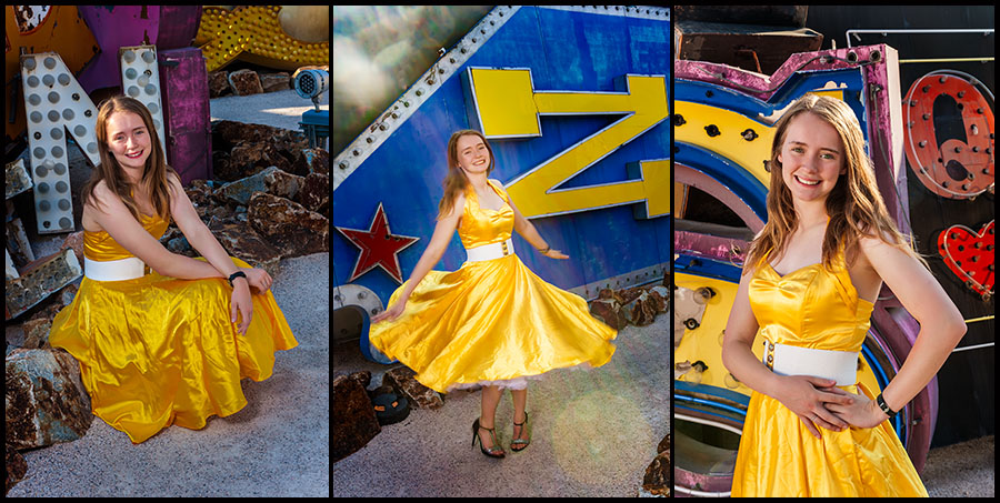 Allyson in a Gold 50s Dress at the Neon Sign Museum