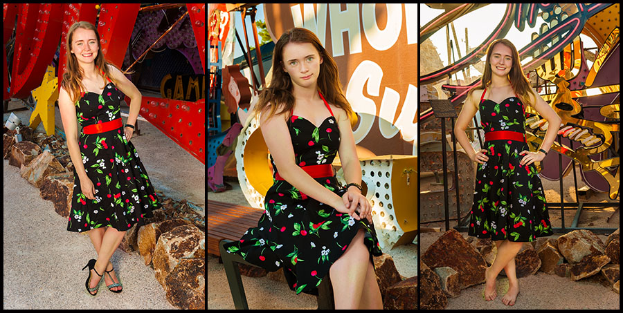 Allyson in a 50s Black Dress at the Neon Sign Museum