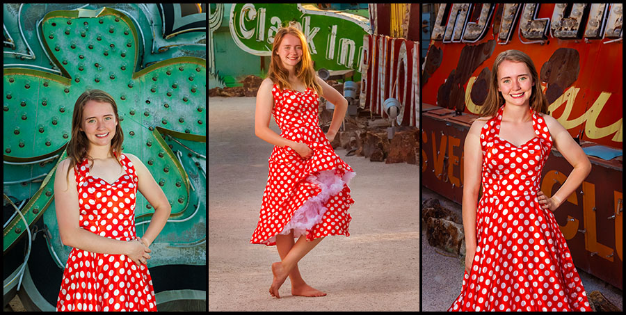 Allyson in Red Polka Dot Dress at the Neon Sign Museum